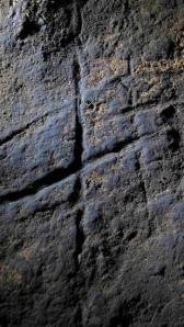 Engravings believed to have been made by Neanderthals more than 39,000 years ago is pictured in Gorham's Cave, Gibraltar, in this handout photo courtesy of Stewart Finlayson of the Gibraltar Museum.